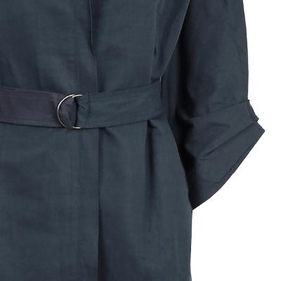 two tone belt high neck trench coat